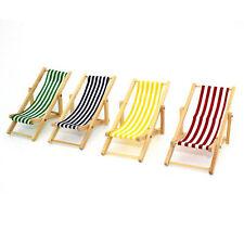 Mini House Decor 1:12 Beach Wooden Outdoor Garden Dolls Chair Foldable Gift
