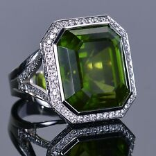 Right Hand Ring in 18k White Gold Rare 43.81 carat Peridot and Halo Pave Diamond