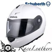 Schuberth C3 Pro Blanco Brillante MOTO Mentonera Deslizante Touring Casco
