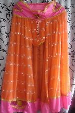 Gypsy Bellydancer Fortune Teller Costume Skirt Orange Pink Psychic Womens Large