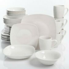 White Square Dinnerware Set 30-Piece Porcelain Plates Dinner Dish Service For 6