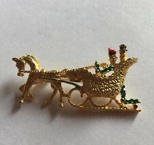 "Vintage Horse Gold Tone 2"" Christmas Jewelry Brooch Pin Cj-2"