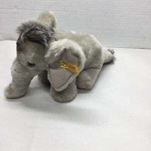 """STEIFF TRAMPILI ELEPHANT GREY 7"""" 064128 WITH TAG AND BUTTON"""