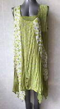 TS Taking Shape Sheer Green and White Top, Handkerchief Hem, Sleeveless Size 18