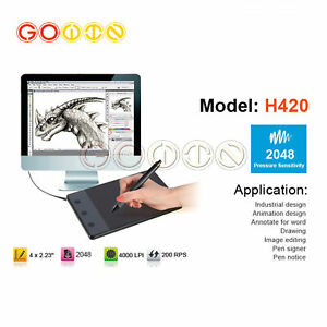 H420 4x2.3inch USB Drawing Writing Art Graphics Board Tablet & Digital Pen