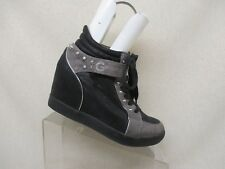 G By Guess Black Lace Up Studded Strap On Hidden Wedge Ankle Fashion Boots Sz 8M
