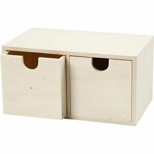 Wooden Mini Chest With TWO Drawers To Decorate Paint 9x18cm Storage Box 55765