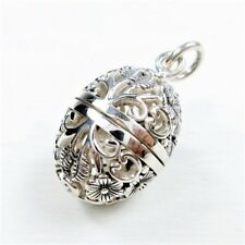 925 Sterling Silver Cutout Flower Egg Filigree Locket Pendant Charm Aromatherapy