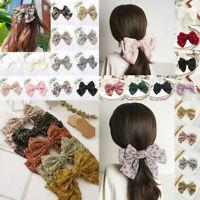 Satin Big Bow Barrettes Women Hair Clip Hair Clamp Hairpin Pin Ponytail Hairband