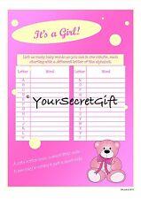 Baby Shower Juego Girl - 4x lista como muchos bebés palabras 1 minuto A5 Hojas