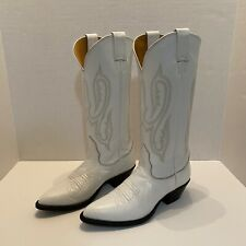 Nocona Tall Western Cowgirl Boots White Leather 68087 Size 5.5B