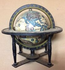 Vintage Zodiac Astrology Horoscope Old World Desk Globe Metal