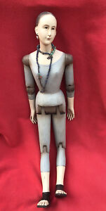 Unusual Large Jointed Church Santos Figure Adorned In Jewelry