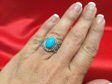 Solid Sterling Silver 925 AVON Turquoise Ring Sz 6 Southwestern Filigree