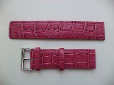 24 mm genuino cuero reloj Correa Cocodrilo Rosa Frambuesa-Grano de Cocodrilo