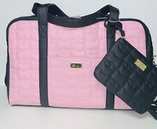"LUV BETSEY JOHNSON ""LBCRUIS"" Quilted Kitty Cat Weekender Bag (PINK/BLACK)"