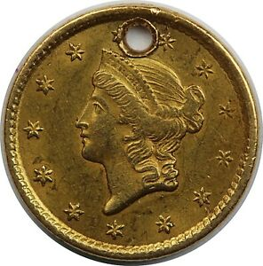 1851 United States Gold Liberty Head Dollar - Damaged