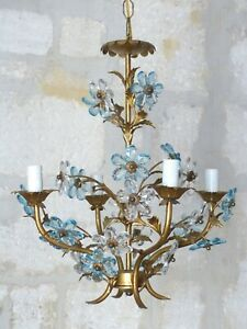 Vintage French Gilded Chandelier Ceiling Blue Prisms Flowers 1950- Maison Baguès