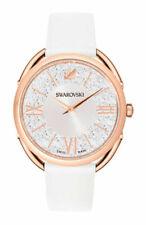 Swarovski Crystalline Glam 35 mm Rose Gold-Plated Case Women's White Leather Strap Wristwatch (5452459)