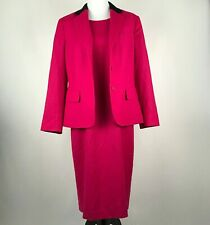 Talbots Women Hot Pink Wool Blend 2PC Blazer & Dress Suit sz 12
