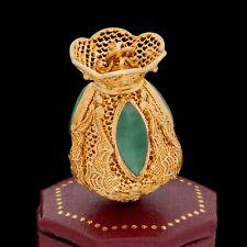 Antique Vintage Art Deco 14k Gold Chinese Carved Jadeite Jade Filigree Pendant