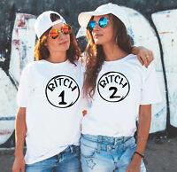 BFF Her and her Best friends Bitch 1 Bitch 2 matching white T-shirts set Bestie