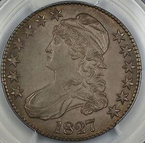 1827 Bust Silver Half Dollar, PCGS UNC Details, Square Base 2, Choice BU, BW
