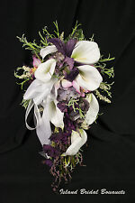 PLUM IVORY WHITE LILY ORCHID WEDDING BOUQUET ROSES CUSTOM DESIGN 22 PC