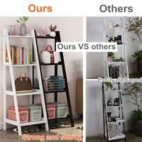 US 4-Tier Ladder Shelf Bookshelf Wood Bookcase Storage Display Leaning Office
