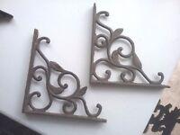 "A Pair of Black Cast Iron Fancy Scroll Shelf Wall Brackets  8 1/2"" x 8 1/2 """
