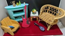 Barbie Doll House Diorama Bedroom Furniture Accessories chair table guitar lot