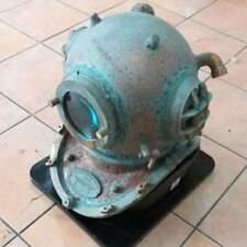 "Old Antique Diving Helmet Rusted Master piece Diving helmet w wooden base 18"""