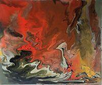 Rare acrylique sur toile d' Abel Savin, N°216, 65x54 cm.Art Abstrait.