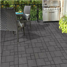10 Mosaic Garden Interlocking Decking Tiles, Recycled Rubber Material, 30 x 30cm