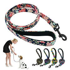 4ft Floral Nylon Dog Leash Soft Padded Walking Rope Training Lead with Handle