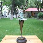 Art Deco Sculpture Ballerina Beauty girl Bronze Copper Statue Blue dress Dancer