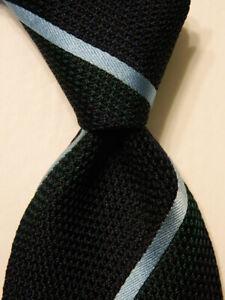 ERMENEGILDO ZEGNA Men's 100% Silk Necktie ITALY Luxury STRIPED Blue/Green EUC