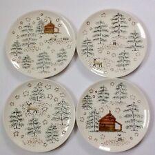 Vintage Dept 56 (4) Dessert Plates Sheep Log Cabin Pines In The Woods 1979-1980