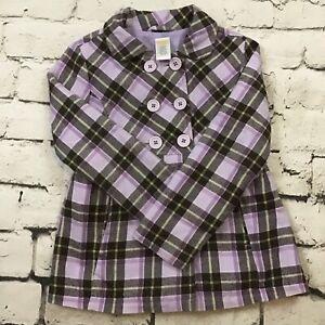 Gymboree Girls Sz S(5-6) Jacket Lavender Plaid Spring Peacoat