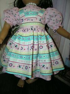 "Pink Bug Dress Butterfly Print Apron 2 piece Dress 23"" Doll clothes fit My Twinn"