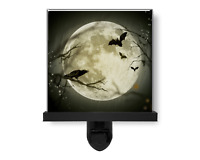 Spooky Halloween Crow and Bats Moon Glass Photo Night Light