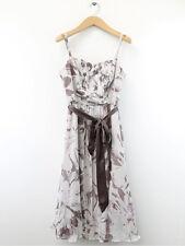Monzón Mujer Moca Estampado Seda Vestido Acampanado Talla 10