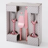 wedding or anniversary  rose gold Toasting Glasses And Cake Server 4 Piece Set