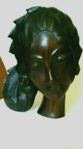 Beautiful Balinese Rosewood Carving Female Head Woman Intricately Carved Signed