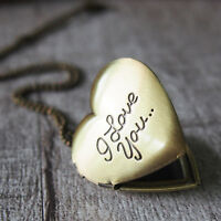 I Love You Brass Heart Picture Photo Locket Charm Pendant Necklace