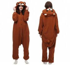 Adultos Unisex Kigurumi Pijamas Animal Cosplay Disfraz Ropa de Dormir Oso Pardo+