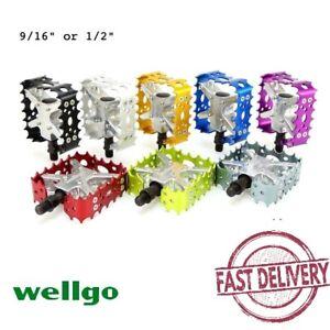 "Wellgo BMX MTB Bear Trap Old School 9/16"" or 1/2"" Bike Pedal Black Blue Red Gold"