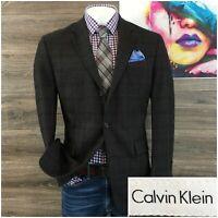 Calvin Klein Mens Sport Coat Blazer Flannel Wool 2 Button Sport Jacket Size 42R