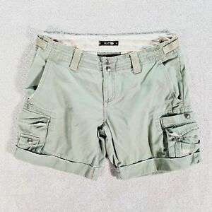 RUSTY Womens Khaki Green Casual Cuffed Cargo Surf Shorts Size 10