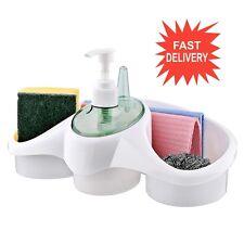 WASHING UP LIQUID SOAP DISPENSER AND SPONGE HOLDER PLASTIC FOR KITCHEN BATHROOM